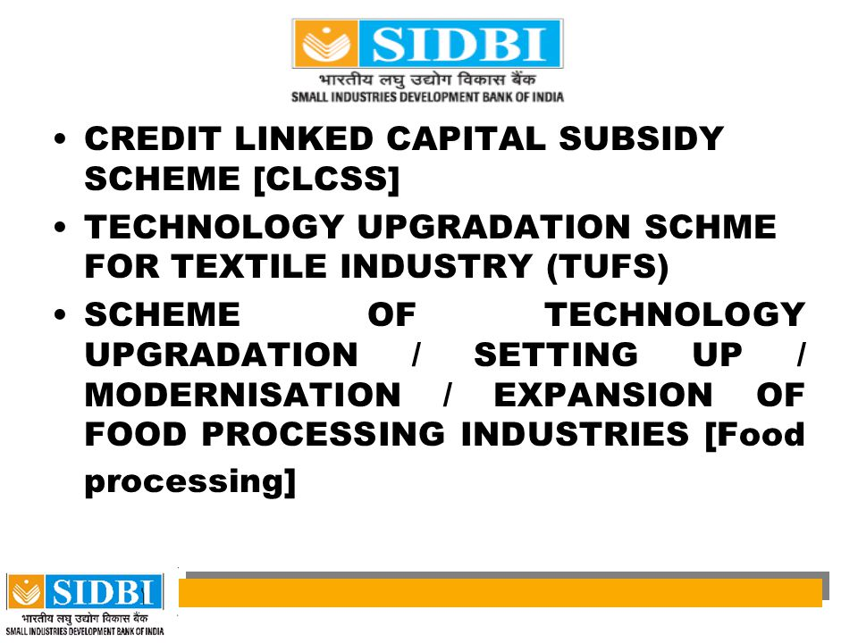 CREDIT LINKED CAPITAL SUBSIDY SCHEME [CLCSS]